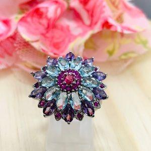 Multicolor Gemstone Flower Ring Silver